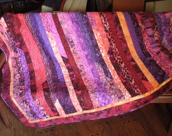 Jelly Roll Race Quilted Throw Handmade Quiltsy Flair Bali Batik Red Purple Blue