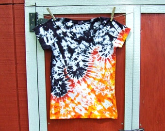 Junior Large Women's Tie Dye T-shirt - Hot Lava - Ready to Ship