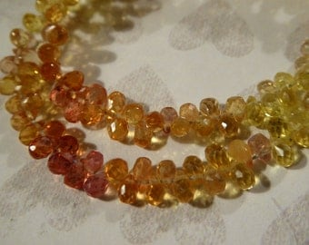 Shop Sale .. 5 10 25 Songea Sapphire Teardrop Briolettes, Luxe AAA, 4-4.5 mm, Yellow Orange, precious september birthstone jj