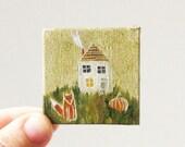 pumpkin time  / MINIATURE painting on canvas panel
