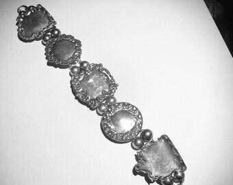 Vintage Sterling Silver Luggage Tag Bracelet