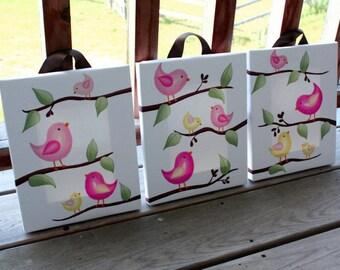 Set of 3 Tweatest Little Birdies Stretched Canvases Baby Nursery CANVAS Bedroom Wall Art 3CS044