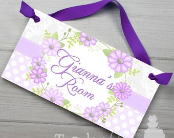Pretty Lilac Floral Wreath Girls Bedroom Door Sign Wall Art DS0367