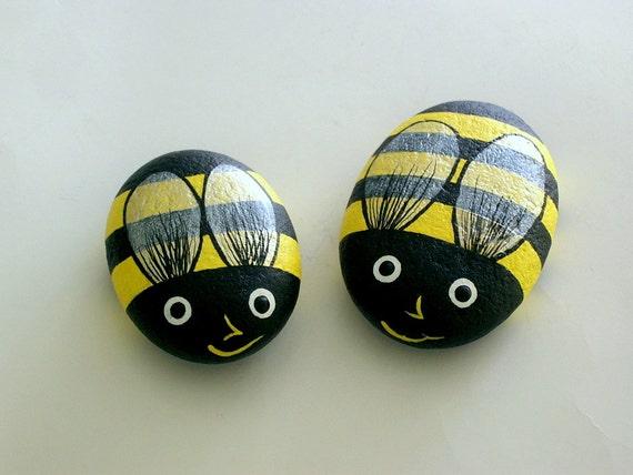 Bumble Bee Painted Rocks Summer Garden Yellow Black Honey