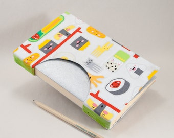 Blank Handbound Book, Journal, Notebook, Sketchbook or Guestbook with a Happy Sushi Fabric Cover
