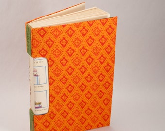 Hand-Bound Journal, Notebook, Sketchbook or Guestbook with a Bright Orange Fabric Cover and Home Canning Theme