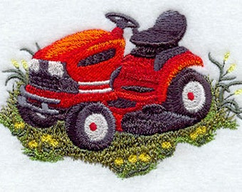 Embroidered Lawn Mower - Riding Lawn Mower - Embroidered Towel - Flour Sack  Towel - Hand Towel - Bath Towel - Fingertip Towel - Apron