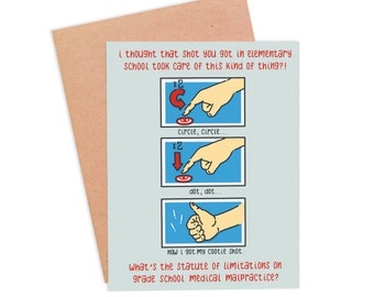 Funny Get Well Card | Funny Cootie Shot Card | Funny Feel Better Card - Cootie Shot