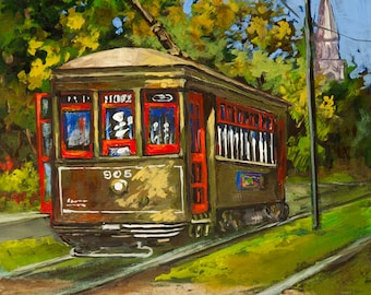 New Orleans Art, St. Charles Streetcar, New Orleans Streetcar, St. Charles Avenue, New Orleans Art GICLÉE Canvas & Print FREE SHIPPING