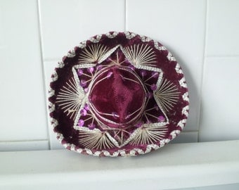 Vintage Magenta Purple Mini Sombrero For Pet