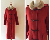 vintage ELIN red wool toggle coat / winter wool coat with hood