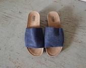 vintage Denim sandal Slides, size 9.5 shoes