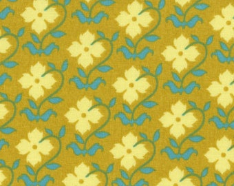 Buttercup Fabric, Joel Dewberry Chestnut Hill, Floral Pattern, lichen yellow blue and green, yardage, choose size of cut
