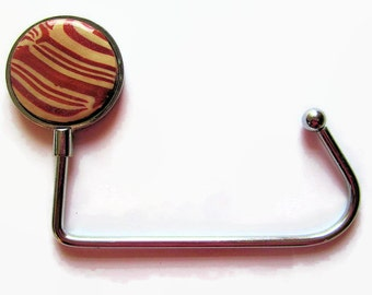 Purse Hook, Handbag Hanger, Pocketbook Hook, Dark Red with Beige