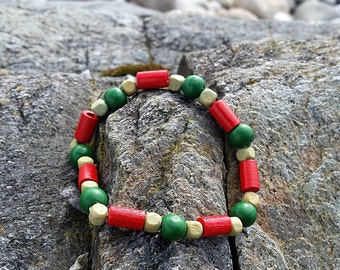 Red and Green Wooden Bead Surf Style Bracelet