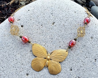 Brass Butterfly, Swallow and Pink Glass Bead Statement Piece Necklace