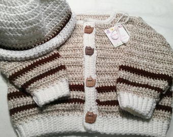 Handmade Baby Sweater and Hat in Taupe with Fat Cat Buttons