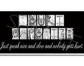 "COURT REPORTER  3""x6"" Plaque black & white letter art"