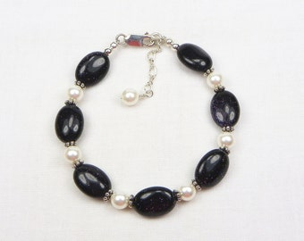 Blue Goldstone and Swarovski Pearl Bracelet - Beaded Jewelry - Sparkly Stone - Sterling Silver - Gift For Her