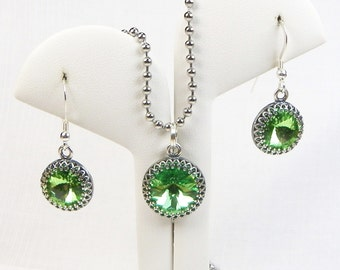 Swarovski Birthstone Jewelry - Choose Your Stone - Stainless Steel Chain - Sterling Silver Ear Wires - Bezel Setting - 3 Piece Set - Peridot