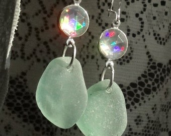 Seafoam Green Sea Glass Earrings