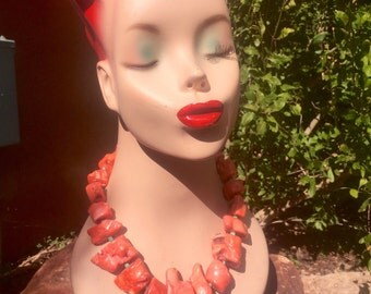 Huge Sexy Coral and Turquoise Necklace