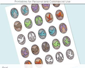 Digital Collage Sheet 30x40 22x30 18x25 13x18 Oval Birds Images for Glass and Resin Pendants Bezel Cabs