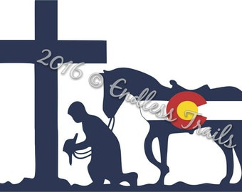 Colorado Praying Cowboy sticker