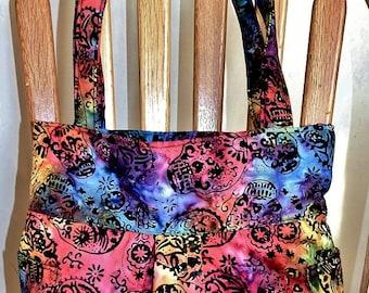 Fiesta Batik Colorful Skulls - Pleated Bag, Purse, Shoulder Bag, Hobo, Outside Pockets