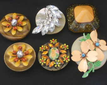 Vintage treasure magnets, Vintage embellished refridgerator magnets