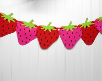 Strawberry birthday banner- Strawberry party banner-Strawberry birthday banner-Strawberry banner-Girls Party-Girls birthday-Decorations