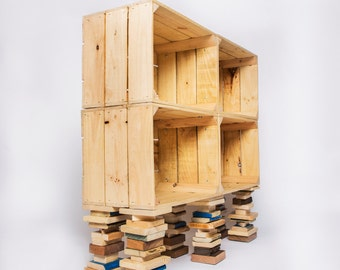 Reclaimed Wood Shelves Wooden Storage Shelves With Baskets Wooden Boxes  Modular Shelving Units Solid Pine Crates