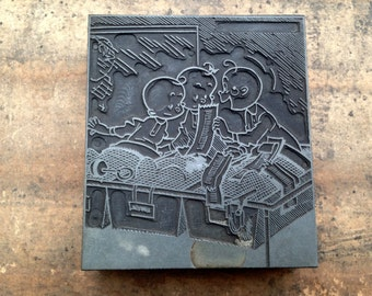 Antique Printers Block - Babies discussing birth certificate inside Maternity Ward