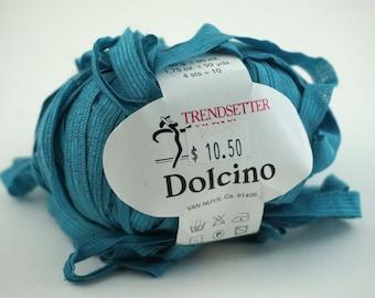 deSTASH Trendsetter Dolcino Turquoise ribbon knitting yarn
