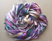 Silk Ribbon Remnants - Cream, Teal, Pink and Purple