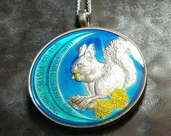 Andorra - Red Squirrel Coin Pendant - Hand Painted