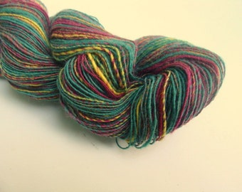 CLEARANCE SALE 2 Ply Handspun Lace Weight Wool Yarn - Greens, Burgundy and Yellows