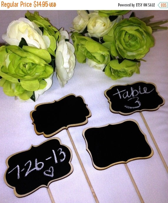 Get Organized SALE- 4 Mini Chalkboard Signs- Chalkboards on Sticks - Chalkboard Stakes - 6 Style Choices, Cake Toppers