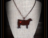 Rustic Metal Show Heifer With Chain Necklace