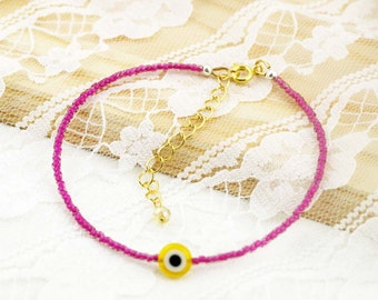 Evil eye dainty seed beads anklet
