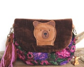 Pink floral chocolate velvet and leather bear bag