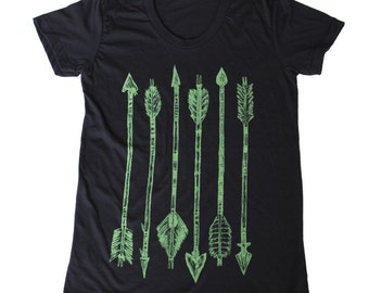 WOMENS green ARROW tee - Black American Apparel Shirt - Ladies TShirt  - Available in S, M, L, Xl
