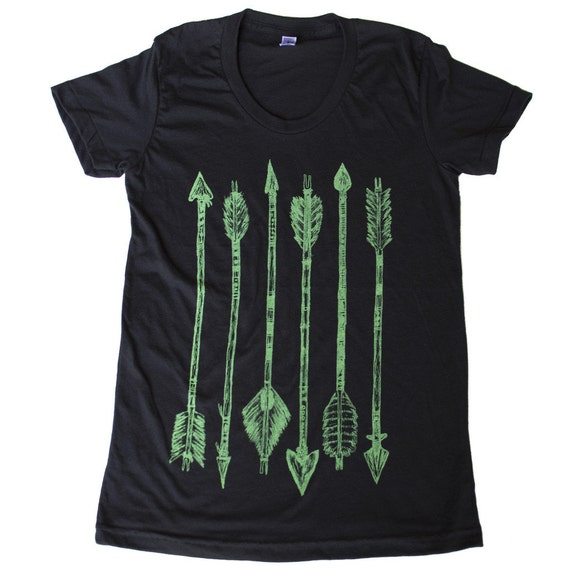 WOMENS green ARROW tee - Black Shirt - Ladies TShirt  - Available in S, M, L, Xl