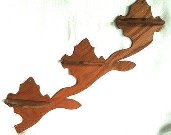 Vintage Pair of Handcrafted Wooden Folk Art Wall Shelves