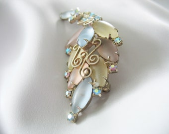 Frosted Glass Leaf Brooch Pastel Colors Gold Swirls AB Rhinestones 1970s