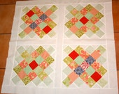 Quilt Top Fig Tree Quilts Modern Vintage style baby size Quilt Top Great Granny Square Sale