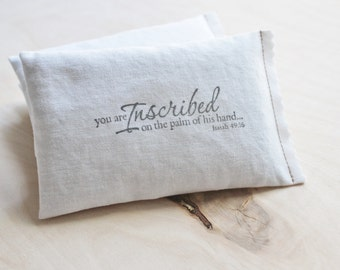 Isaiah 49:16 Lavender Sachet, Get Well Gift for Christian Friend, Faith Pillow, Gift Box Option