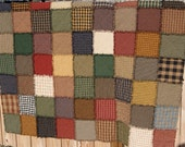 Oversized Primitive Homespun Handmade Rag Quilt Throw