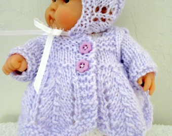 Knitting Pattern Berenguer Baby Doll Chevron Matinee Set for the 8 inch Lots to Love Baby Dolls instant digital download