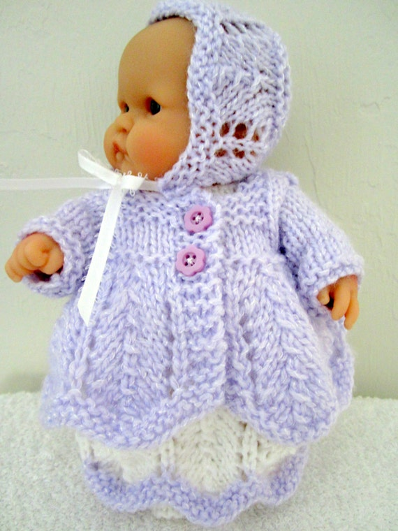 Knitting Patterns For Berenguer Dolls : Knitting Pattern Berenguer Baby Doll Chevron Matinee Set for the 8 inch Lots ...